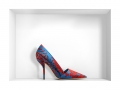 Dior Pointed Toe Pump in Silk Faille Red and Blue floral Print