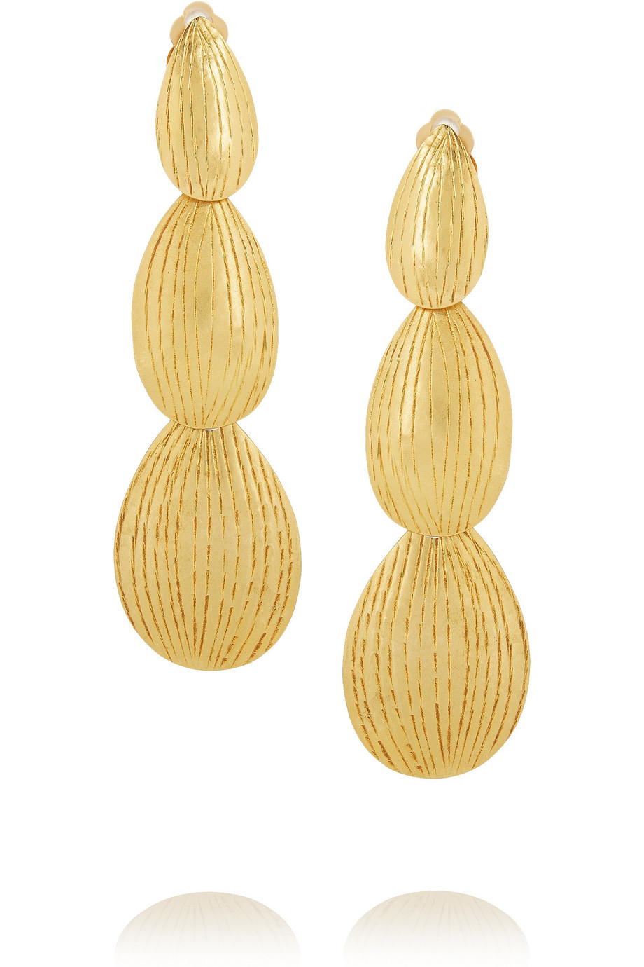 Hervé Van der Straeten Gold Pleated Drop Earrings